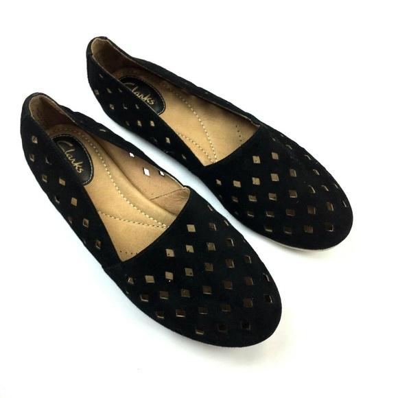 03f6b2200e91 Clarks Shoes - Clarks Laser Cut Out Comfy Black Flats